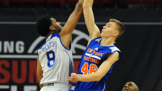 Watch Kristaps Porzingis Swat Jahlil Okafor's Shot On Three Separate Occasions