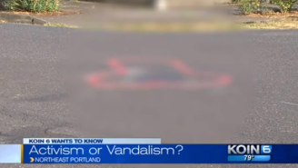 Someone In Portland Is Painting Huge Dongs Around Potholes To Get The City To Fix Them