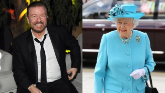 Ricky Gervais Defends Queen Elizabeth II After Nazi Salute Controversy With His Own 'Tiny Hitler' Photo
