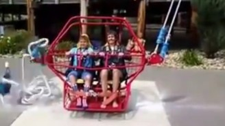 Cord Snaps On A Catapult Amusement Ride Just Before Takeoff