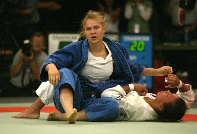 Ronda Rousey competes in the 2004 Olympics at age 17.