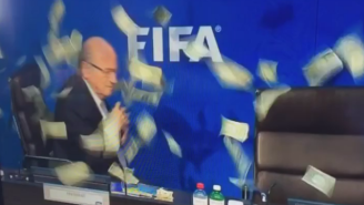 The British Comedian Who Made It Rain On Sepp Blatter Has Been Arrested