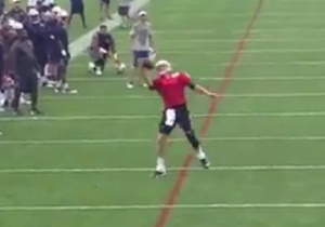 Tom Brady Made A One-Handed TD Catch Because It's Training Camp