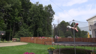 Witness The Majesty Of A Two-Basketball, Two-Flip Trampoline Trick Shot