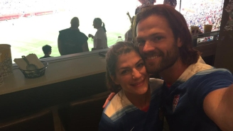 Jared Padalecki and Jensen Ackles show their American pride at Women's World Cup