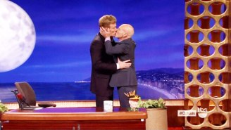 Watch Sir Patrick Stewart And Conan Lock Lips In A Passionate Kiss