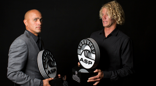 """No surprise here: Slater and Florence won the """"Heat of the Year"""" at the World Surf League Awards in February."""