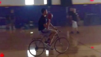 Here's Klay Thompson Nailing A Half-Court Shot On A Bicycle Because It's August