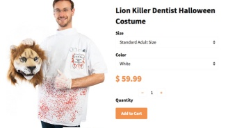 An Online Costume Company Is Selling A 'Lion Killer Dentist' Halloween Costume