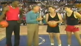 Here's A Young Michael Jordan Playing Basketball Against Martin And Charlie Sheen In 1987