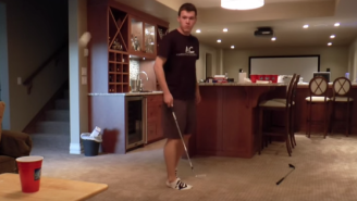 Watch This Bro Hit An Amazing Beer Pong Shot With A Golf Club