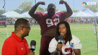 Watch This Washington Redskins Defensive Lineman Interrupt An Interview With A Belly Dance