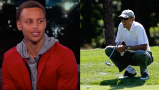 Stephen Curry Told 'Kimmel' About Getting Trash Talked By Barack Obama While Playing Golf