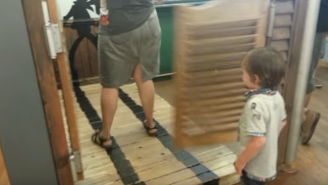 Watch This Poor Child Have His World Rocked By A Swinging Saloon Door