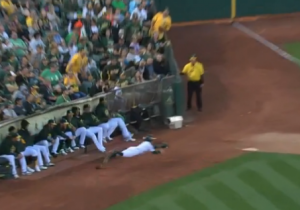 Watch This Oakland Athletics Ball Boy Make A Diving Catch Against The Rays