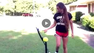 This Softball Player Just Gave Us One Of The Coolest Trick Shots You'll See