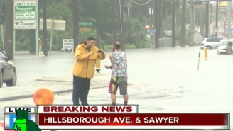 While Tampa Is Flooding, This Dude Is Just Out Catching Fish In The Streets