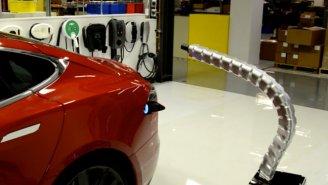 Tesla's Robotic Charging Arm Looks Like A Sentient Robot Dingus