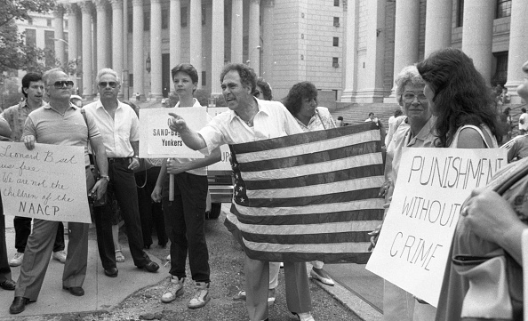 Demonstrators gather outside Manhattan Federal Court to protest Judge Leonard Sand's decision to slap the City of Yonkers with a potentially bankrupting fine because city council refused to go along with judge's housing desegregation order. (Photo Robert Rosamilio/NY Daily News via Getty Images)