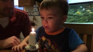 Watch This Two-Year-Old Fail Spectacularly At Blowing Out His Birthday Candle