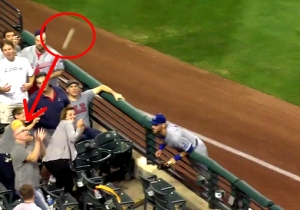 Watch This Poor Fan Take A Baseball Right Off His Bald Head