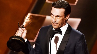Jon Hamm Slinks Onstage To Accept His Emmy For Best Actor In A Drama For 'Mad Men'