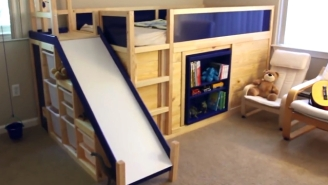 This Dad Built The Most Kickass IKEA Bed With A Slide And Secret Hideout