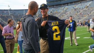 Jim Harbaugh Gave Derek Jeter A Michigan Jersey Before Today's Game