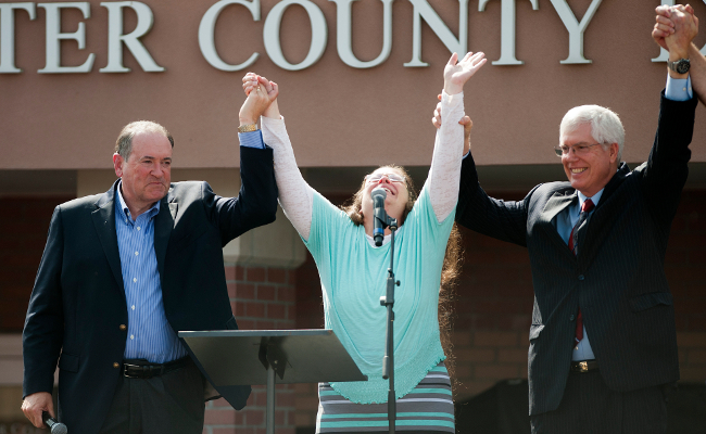 Kim Davis and Mike Huckabee