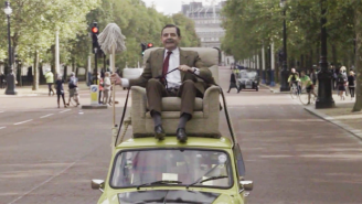 Mr. Bean Celebrated 25 Years By Driving His Mini Cooper Around Buckingham Palace