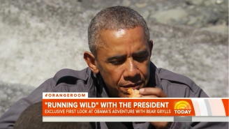 Watch President Obama Eat A Salmon Covered In Bear Slobber With Bear Grylls