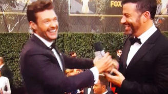 Ryan Seacrest gives Jimmy Kimmel the Emmys Red Carpet mic, instantly regrets his decision