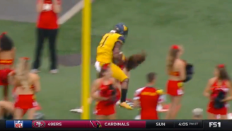 A West Virginia Player Caught A Touchdown And Then Obliterated A Maryland Cheerleader