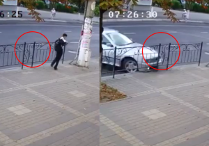 Watch This Kid Narrowly Avoid Disaster By Moving Just Before A Car Crashes Out Of Nowhere
