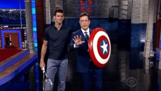 Here's U.S. Open Champ Novak Djokovic Blasting A Wicked Serve At Stephen Colbert