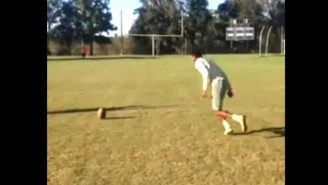 Watch How This High School Kicker Hit A 51-Yard Field Goal Without A Holder
