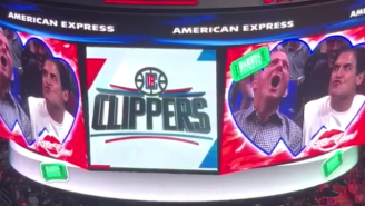Yes, That Was Mavericks Owner Mark Cuban And Clippers Counterpart Steve Ballmer On The Kiss Cam