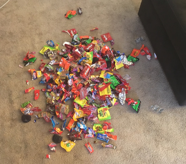 candy on floor