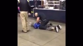 Here's A Cubs Fan In A Goat Costume Getting Body-Slammed By A Pittsburgh Cop