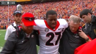 Georgia Running Back Nick Chubb Left The Game Against Tennessee With A Gruesome Knee Injury