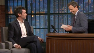 Nathan Fielder Brings A Thoughtful And Generous Gift To Seth Meyers On 'Late Night'