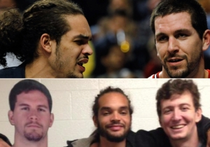 Here's Joakim Noah And Omer Asik Posing With A Life-Sized Cutout Of Brad Miller