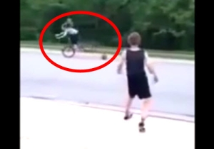 World's Meanest Kid Knocks A Girl Off Her Bike With A Basketball