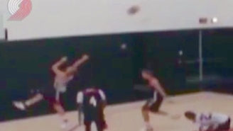 Watch Mason Plumlee Drain A Game-Winning Backward Three-Pointer At Practice