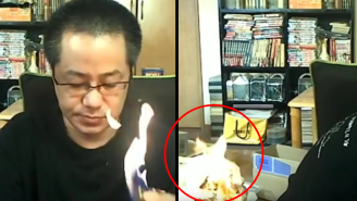 Watch This Guy Accidentally Set His Apartment On Fire In The Middle Of A Livestream