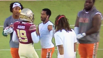 Watch Miami Players Bully Florida State's Kicker Before The Game
