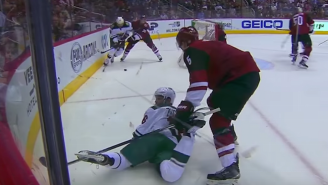 Watch What Happens When A Hockey Player Gets A Stick Stuck In Both Skates