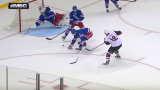 Henrik Lundqvist Robs A Goal By Diving Across The Crease For An Incredible Save