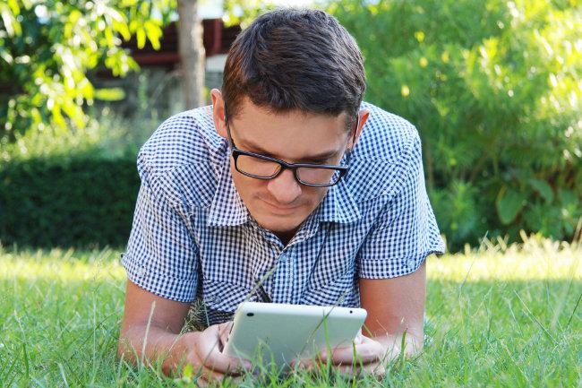 staring at tablet