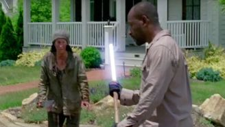 It Was Only A Matter Of Time: Watch Morgan From 'The Walking Dead' Beat Up The Wolves With A Lightsaber